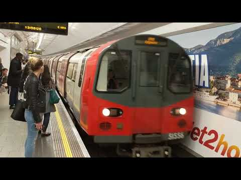Oxford Circus Station trains, Northern Line going north. 6 London Underground tube trains.