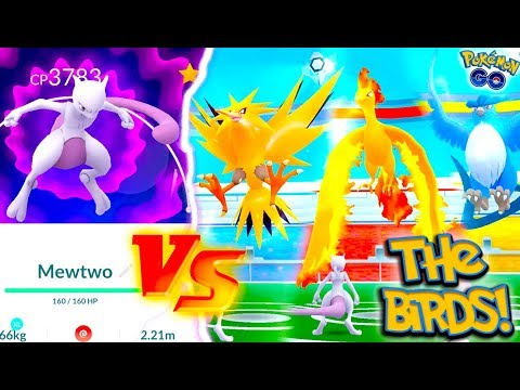 USING MEWTWO AGAINST ALL 3 LEGENDARY BIRDS IN POKÉMON GO! MEWTWO CHALLENGE!