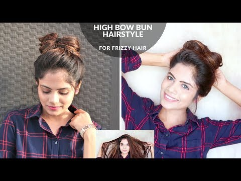 1 Min High Bow Bun Hairstyle For Summer(Without Combing)