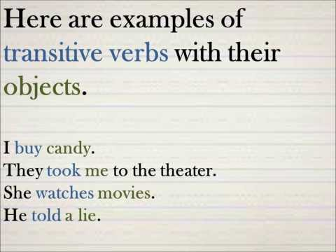 ESL Examples of transitive and intransitive verbs, by Rich Damien Zellers