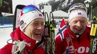 Tarjei Bø and Johannes Thingnes Bø after victory in relay - Antholz 2015
