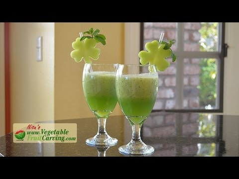 St. Patrick's Day Healthy Green Smoothie with 4 Leaf Clover Garnishes