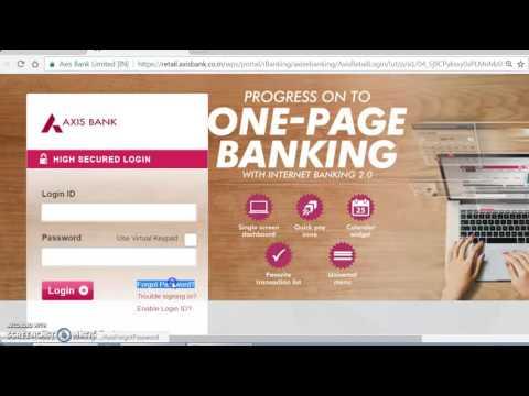 Axis Bank Internet banking Password Generation / Reset / Forgot Password