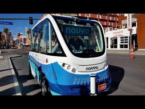 Driving Autonomous Car - Arma The Self Driving Bus Debuts in Las Vegas Nevada USA