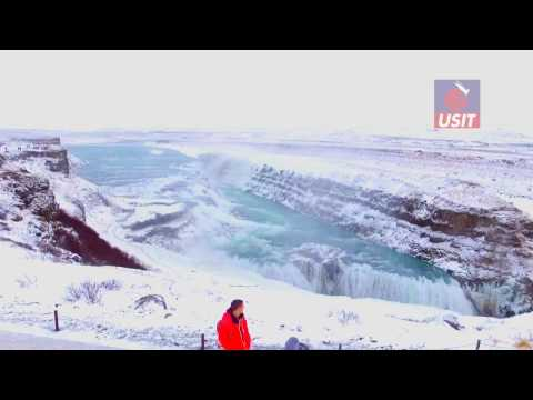 USIT in Iceland: Gullfoss Waterfall Drone 6 Jan 2017
