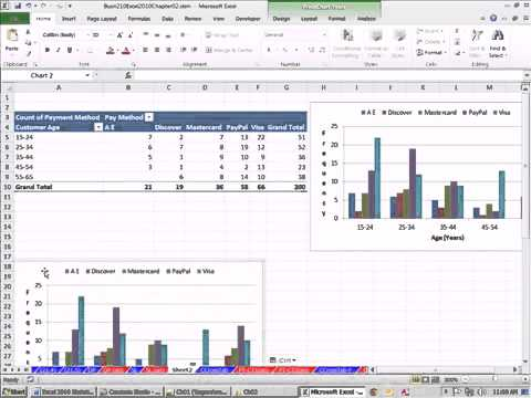 Excel 2010 Statistics 21 Cross Tabulation With PivotTable Frequencies and  Column   Row