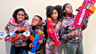 Nerf War Battle ATTACKS - Shasha And Shiloh EPIC Nerf Mega Mastodon - Onyx Kids