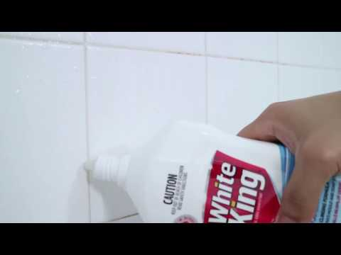 White King Power Clean Bathroom Gel on Mouldy Grout