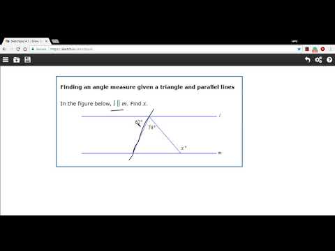 Finding an angle measure given a triangle and parallel lines