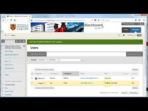 Blackboard User Administration   adding and removing users to your Blackboard course