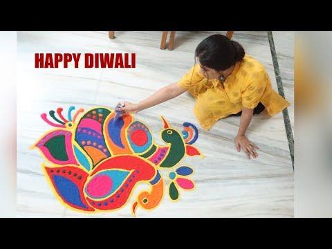 Happy Diwali// Colourful Rangoli //Hairstyle Diaries