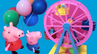 Peppa Pig English Toys Episode - Peppa Pig New 2015 Funfair Toys Video - Daddy Pig Gets Stuck!