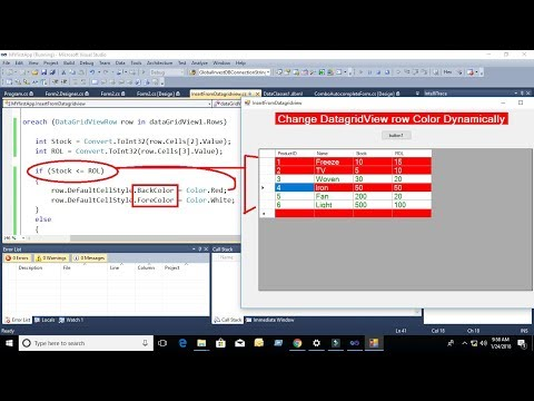 how to change datagridview row color in c# with source code