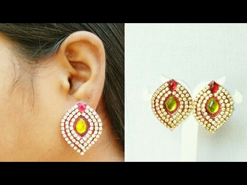 DIY // Paper Earrings // How Make Simple And Easy Earrings//Silk Thread Earrings//Home Made Tutorial