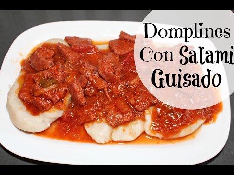 Domplines con Salami guisado (Receta Dominicana) | Cocinando con Ros Emely