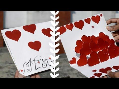 DIY - Easy Valentine Card   Hearts Pop Up Card   Love Card