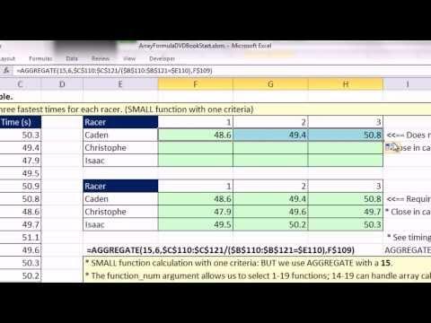 Ctrl + Shift + Enter: Excel Array Formulas 11: AGGREGATE, INDEX, LOOKUP, SUMPRODUCT