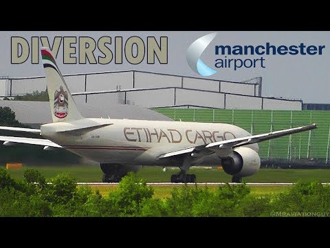DIVERT! Etihad Cargo Boeing 777 -FFX Takeoff from Manchester Airport (London Stansted Diversion)
