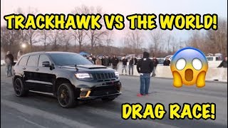 1000HP TRACKHAWK VS TESLA MODEL X P100D AND MUCH MORE! *INSANE*