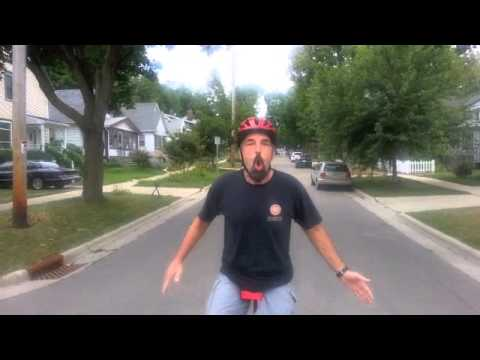 Brian on the unicycle; demonstrates free mount