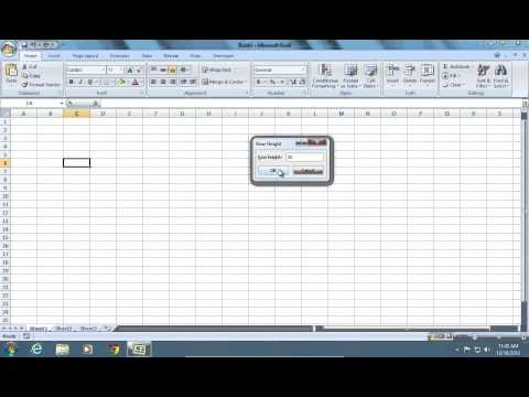 How to change Excel 2007 Cell Size