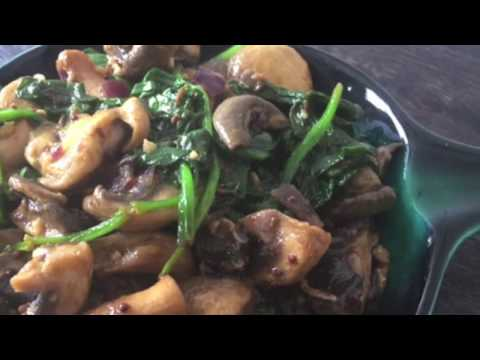 Quick Tasty Mushroom Spinach Fry Recipe   Easy Side Dish Recipe