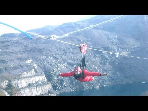 The worlds fastest zip wire, Velocity at Zip World Penrhyn Quarry in Bethesda Snowdonia.