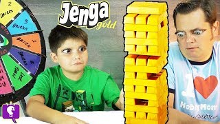 JENGA GOLD! Wheel of Doom + Fools Gold, Family Game Night HobbyKidsTV