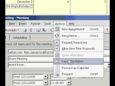Microsoft Office Outlook 2003 Cancel a meeting