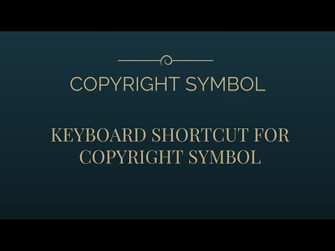 Easiest Method For Creating COPYRIGHT SYMBOL !