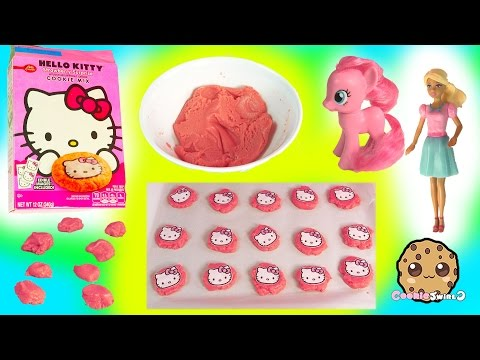 Baking Hello Kitty Strawberry Surprise Sugar Cookies with MLP Pinkie & Barbie