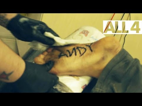 Guy gets painful 'Andy' Toy Story tattoo on foot. Is he now one of Andy's toys?