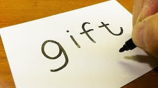 """How to turn words """"GIFT(Christmas Gift)"""" into a Cartoon for kids -  How to draw doodle art on paper"""