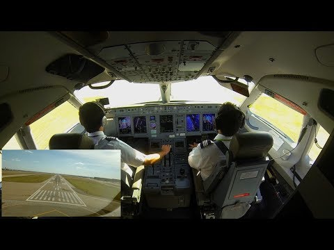 Sukhoi superJet 100 landing in Dallas-Fort Worth Airport. Cockpit view