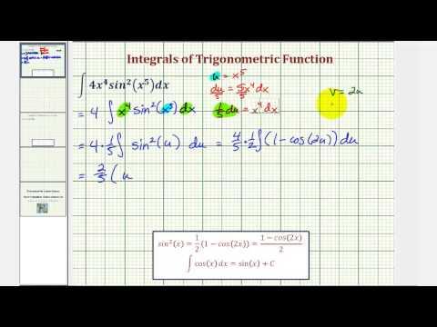 Ex 2: Trigonometric Integration - Power Reducing Formula and U-Substitution