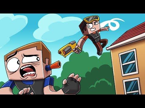 Minecraft - 360 NERF TRICK SHOTS CHALLENGE! (Nerf Guns Mod)