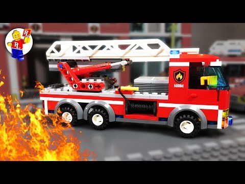Lego Fire Trucks in Action 🔥 🚒 Lego City in Fire 🔴 Stop Motion Animation