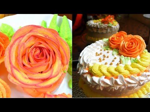 how to make colored  Whipped cream& flowersव्हिप्पेद क्रीम से 4 तरहं के गुलाब बनाना सीखिए आसानी से