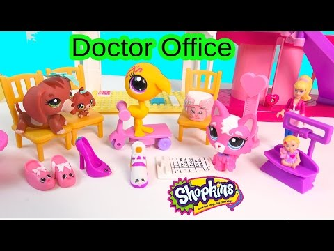 Doctor Office Baby Clinic Checkup Shopkins, LPS Littlest Pet Shop, Barbie  Play Video - Cookieswirlc