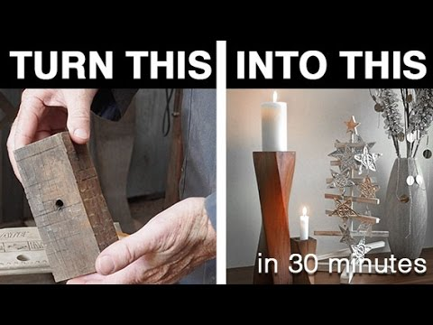 Stylish DIY Christmas candle holder from scrap wood - Learn how to upcycle!