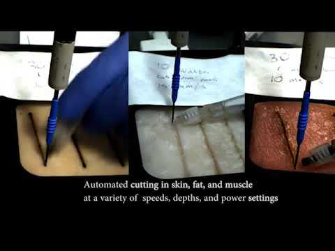 Robot surgeon performs flesh-cutting tasks and pseudo-tumor removal