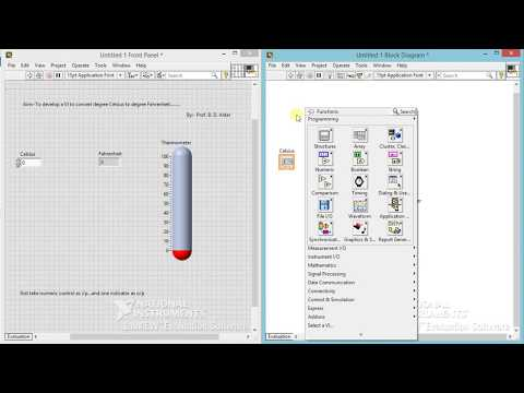 To convert the temperature from celsius to fahrenheit using LabVIEW