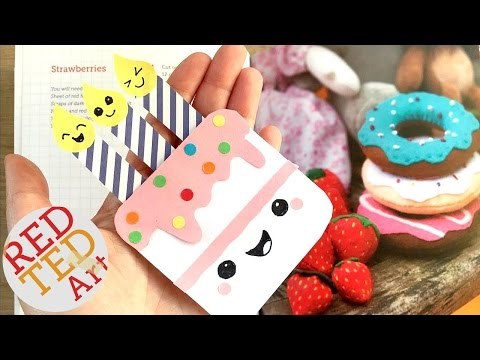 Easy Birthday Cake Bookmark DIY - Paper Bookmark Designs & Crafts - Inexpensive Cute & Easy - Kawaii