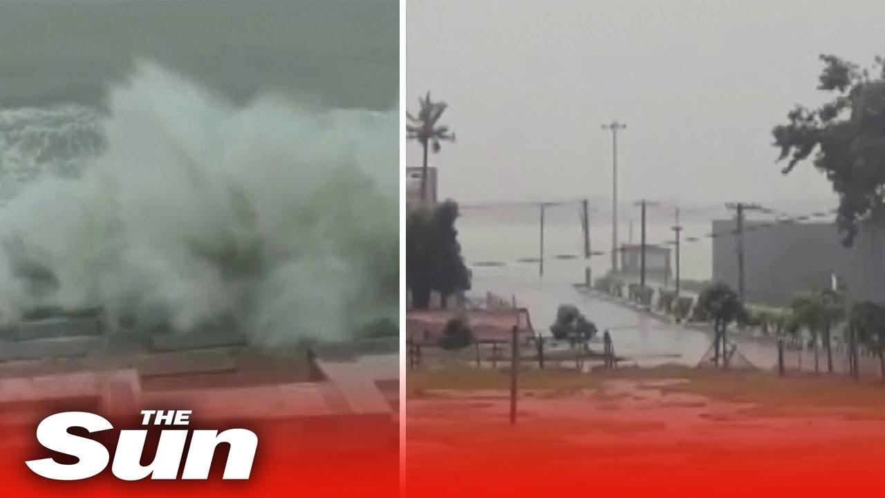 Super cyclone brings huge tidal waves & rain to India