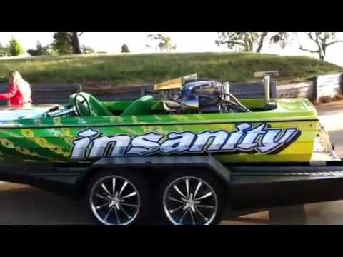 INSANITY - Twin Turbo 6 litre Everingham - 120+ mph Water Ski Racing Boat on the trailer
