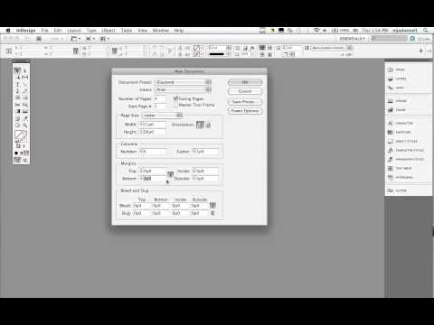 InDesign Lesson 1: The tools, basic page setup