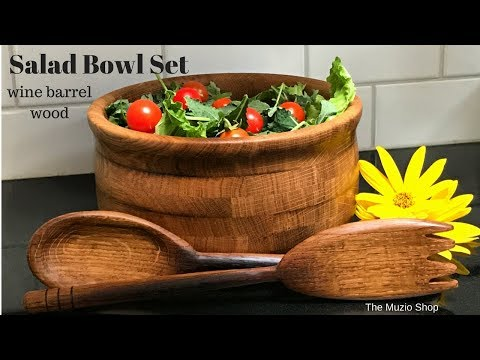 Woodworking: How to make a Salad Bowl Set with recycled Wine Barrel Wood