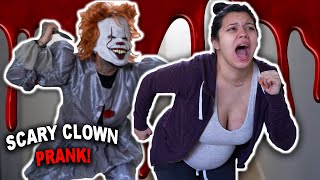 SCARY CLOWN PRANK ON PREGNANT GIRLFRIEND! *GONE WRONG*