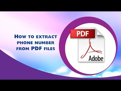 How to extract phone number from PDF files?