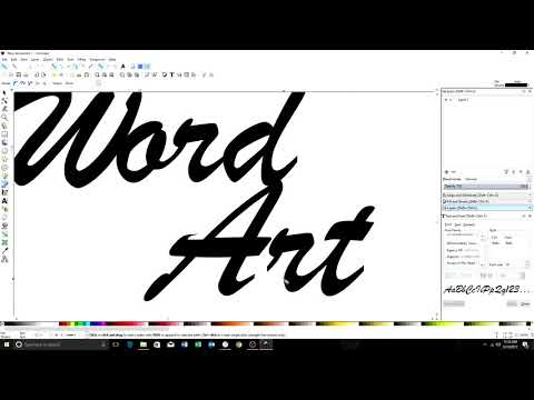 Word art using inkscape for CNC cutting
